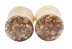Gold Crushed Shell Wood Plugs - Defiant Jewelry