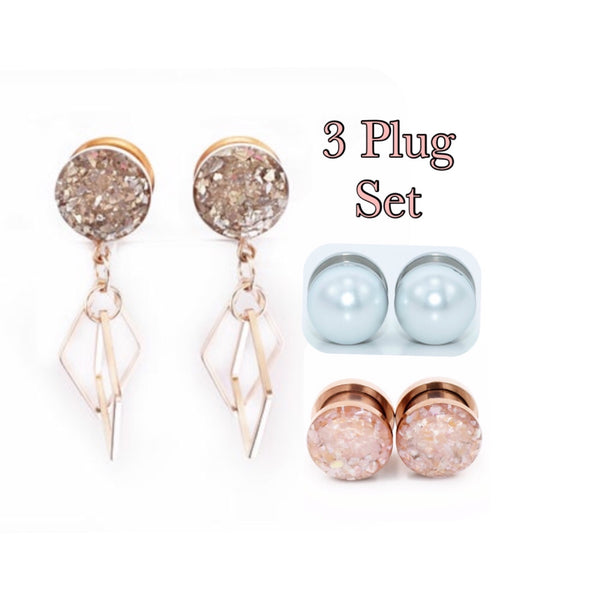 3 Plug Set; Silver Glass Diamonds, White Pearls, Champagne Shell Plugs