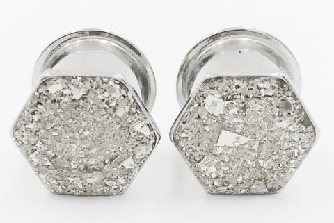 Hexagon Silver Crushed Glass Geometric Plugs - Defiant Jewelry
