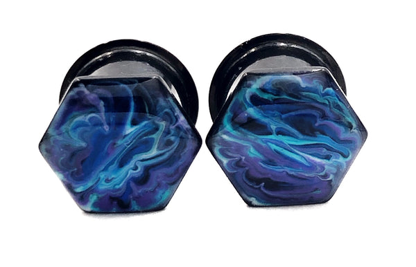 Electric Blue Marbled Hexagon Plugs - Defiant Jewelry