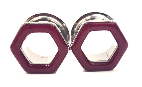 Scarlet Berry Gloss Tunnel Hexagon Plugs