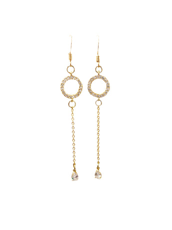 CZ Circle Chain Teardrop Dangle Earrings
