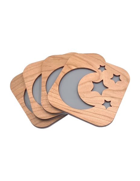 Moon and Stars Cherry Wood Coasters