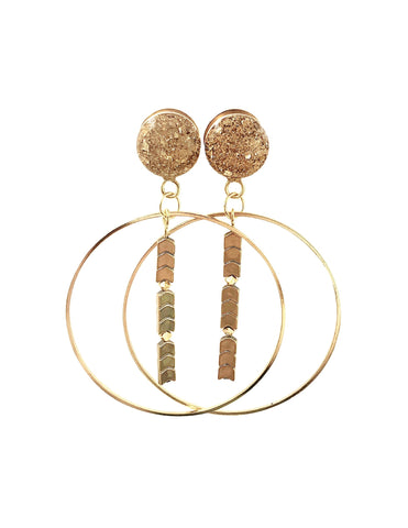 Gold Crushed Glass Arrow Hoop Dangle Plugs