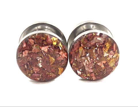 Fall Auburn Crushed Glass Plugs - Defiant Jewelry