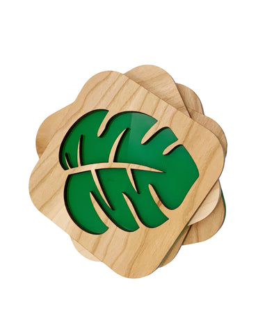 Monstera Leaf Cherry Wood Coasters