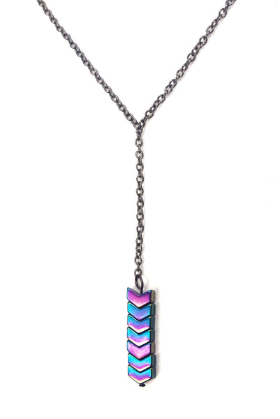 Rainbow Hematite Arrow Y Necklace
