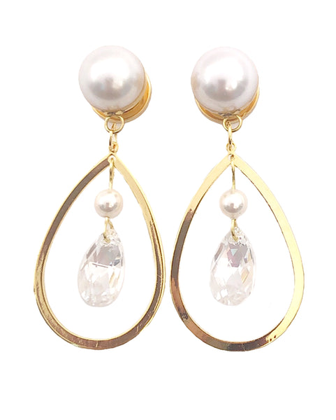 White Pearl Swarovski Crystal Teardrop Dangle Plugs - Defiant Jewelry