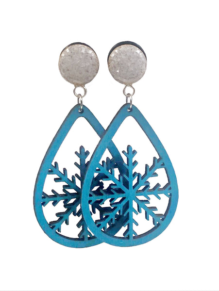 Pearl Crushed Glass Snowflake Teardrop Wood Dangle Plugs - Defiant Jewelry