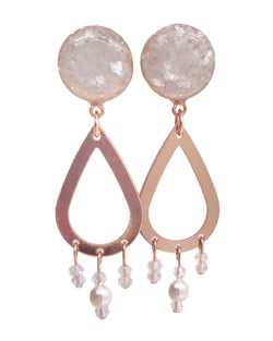 Pearl Crushed Glass Beaded Teardrop Dangle Plugs