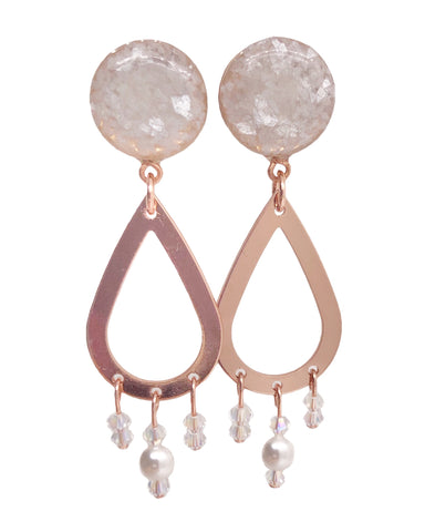 Pearl Crushed Glass Beaded Teardrop Dangle Plugs - Defiant Jewelry