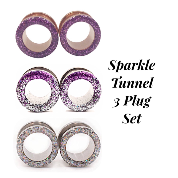 Lilac, Purple Ombré, and Silver Iridescent Tunnel Plug Set