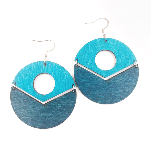 Light and Dark Blue Geometric Circle Dangle Earrings