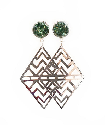 Forest Green Aztec Diamond Dangle Plugs - Defiant Jewelry