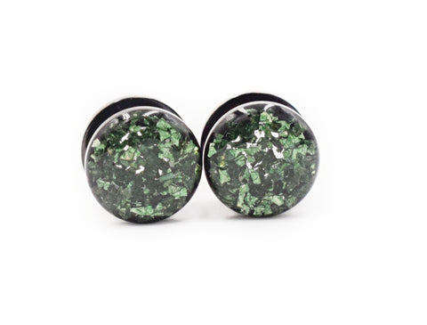 Forest Green Crushed Glass Plugs - Defiant Jewelry