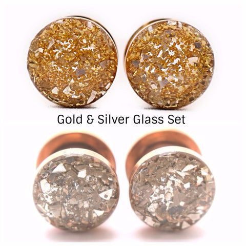 Silver & Gold Crushed Glass Plugs Set - Defiant Jewelry