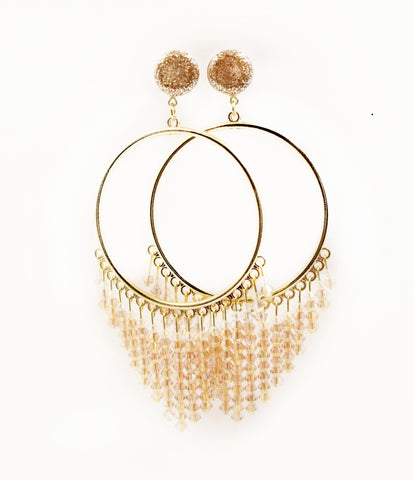 Champagne Gold Beaded Hoop Dangle Plugs - Defiant Jewelry
