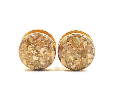 Gold Crushed Shell Plugs - Defiant Jewelry