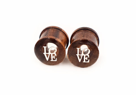 LOVE plugs on Sono Wood - Defiant Jewelry