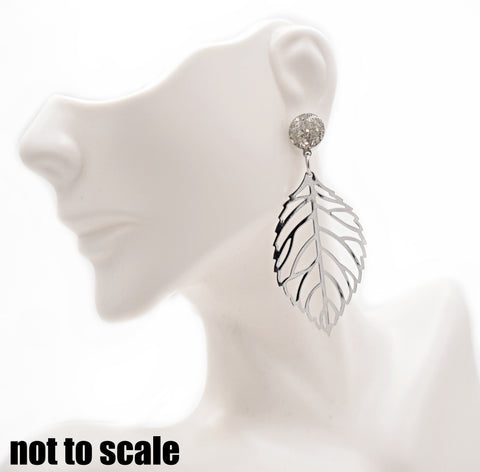 Silver Crushed Glass Leaf Dangle Earrings - Defiant Jewelry