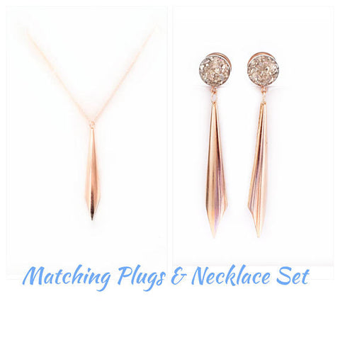 Rose Gold or Silver Dagger Necklace and Plug Set - Defiant Jewelry
