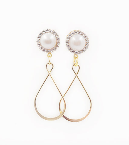 Pearl & Swarovski Crystal Teardrop Dangle Plugs - Defiant Jewelry