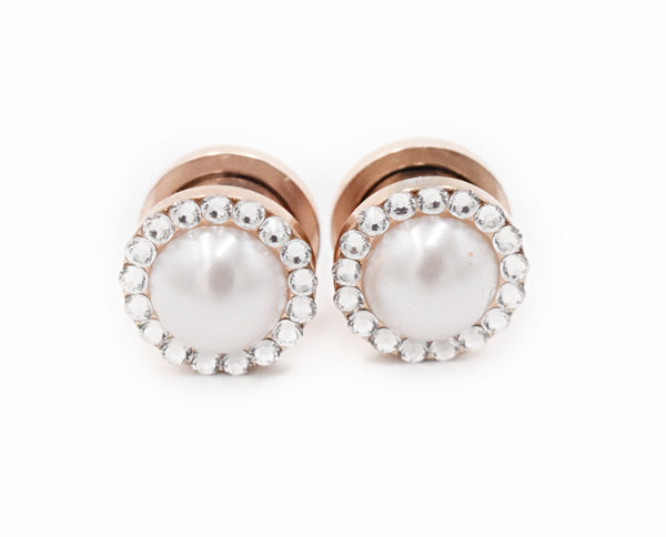 Pearl & Crystal Intricate Plugs - Defiant Jewelry