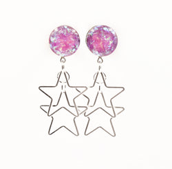Pink Holographic Star Dangle Plugs - Defiant Jewelry