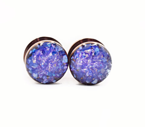 Purple Crushed Shell Plugs - Defiant Jewelry