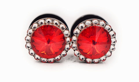 Red Swarovski Crystal Plugs - Defiant Jewelry