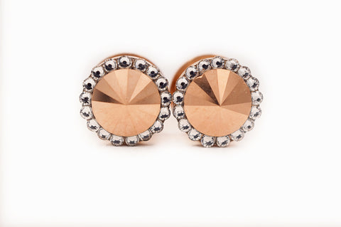 Rose Gold Metallic and Clear Swarovski Crystal plugs - Defiant Jewelry