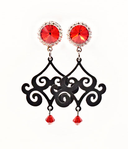 Red Swarovski Crystal Chandelier Dangle Plugs - Defiant Jewelry