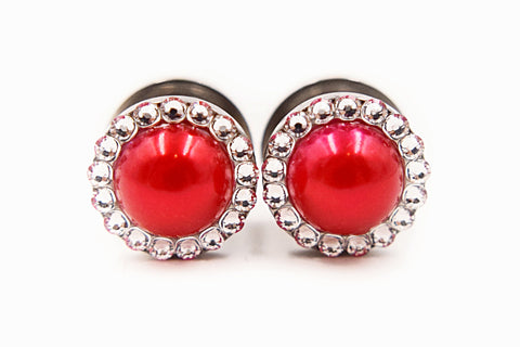 Red Pearl & Crystal Intricate Plugs - Defiant Jewelry