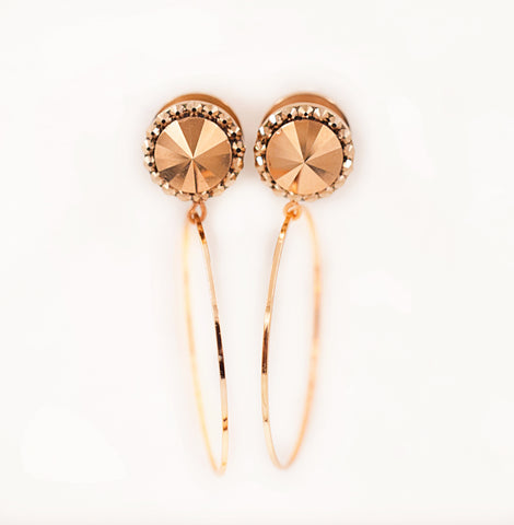 Rose Gold Metallic Swarovski Crystal Dangle plugs - Defiant Jewelry