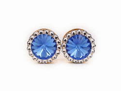 Sapphire Blue and Clear Swarovski Crystal Plugs - Defiant Jewelry