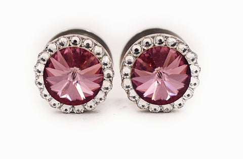 Vintage Rose Swarovski Crystal Plugs - Defiant Jewelry