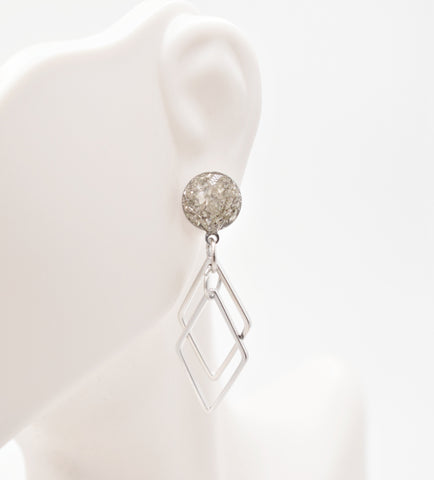 Silver Crushed Glass Diamond Dangle Earrings - Defiant Jewelry