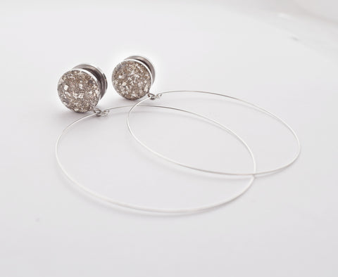 Silver Crushed Glass with Hoops Dangle Plugs - Defiant Jewelry