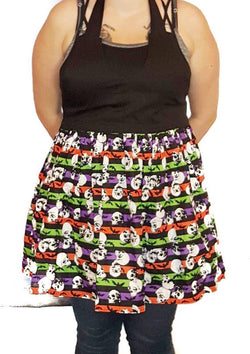 Skull Stripe V-Neck Dress Apron - Defiant Jewelry