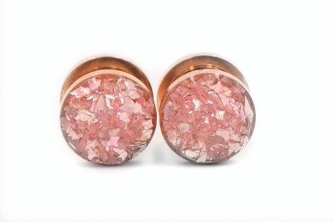 Soft Pink Crushed Glass Plugs - Defiant Jewelry
