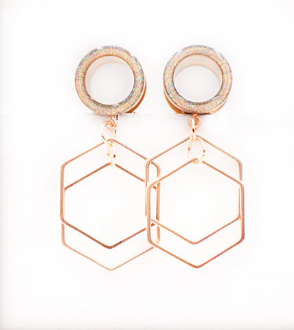 Iridescent Tunnel Geometric Dangle Plugs - Defiant Jewelry