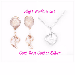Pearl Glass with Pearl Twist Dangle Plugs & Necklace Set