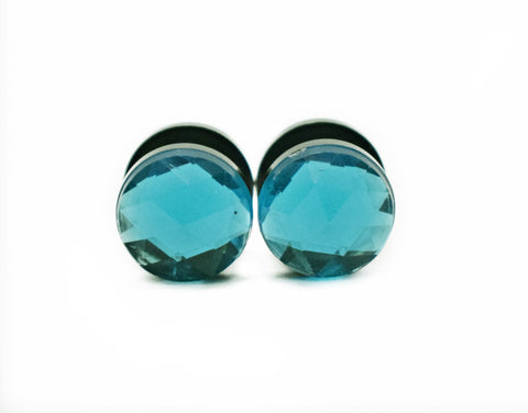 Aqua Crystal Plugs - Defiant Jewelry