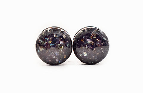 Iridescent Black Crushed Shell Plugs - Defiant Jewelry