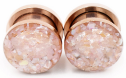 Champagne Crushed Shell Plugs - Defiant Jewelry