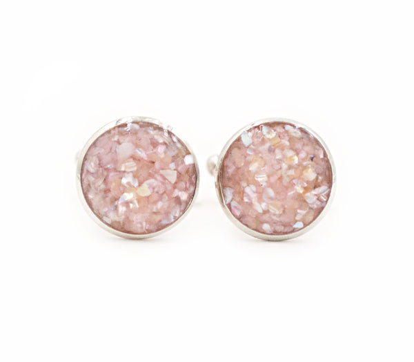 Champagne Rose Crushed Shell Cufflinks - Defiant Jewelry
