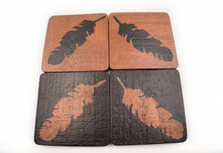 Copper and Black Feather Coasters - Defiant Jewelry