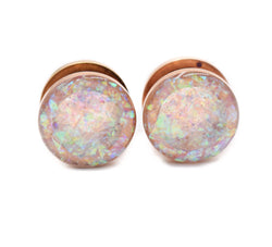 Frosted Holographic Plug shown on a Rose Gold Base - Defiant Jewelry