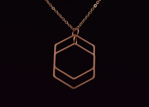 Double Geometric Pendant in Rose Gold - Defiant Jewelry