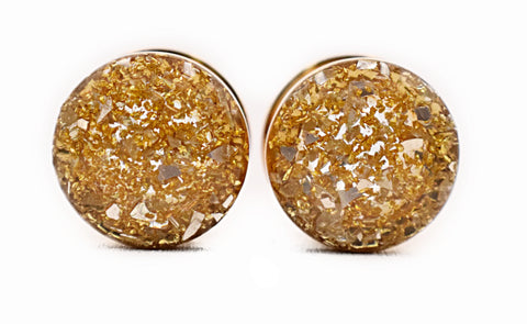 Gold Champagne Crushed Glass Plugs - Defiant Jewelry